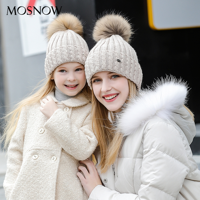 New-Fashion Bonnet Wool-Caps Skullies Female Child Women's Brand Hat 2pieces/Set -Mz701b