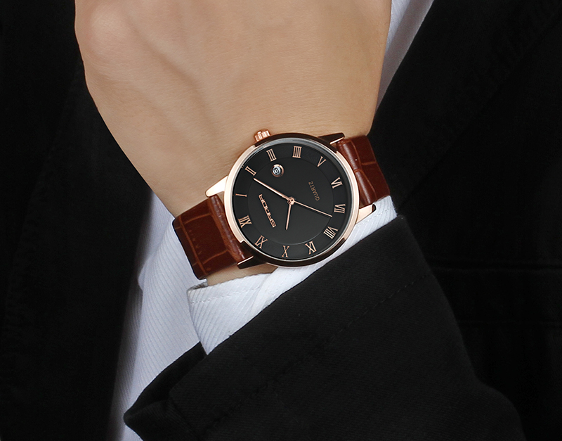 7mm ultra thin watch men luxury classic black Waterproof alloy round case free delivery in Quartz Watches from Watches