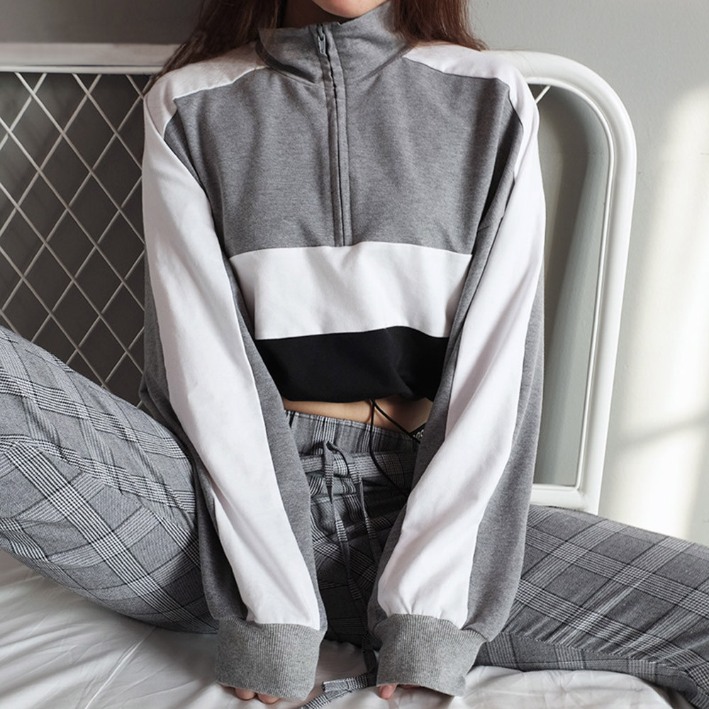 Fashion Crop Hoodies Pullover Women Autumn Winter Stand Collar Patchwork Hoodie And Sweatshirt With Zippers Coat Tops Clothes