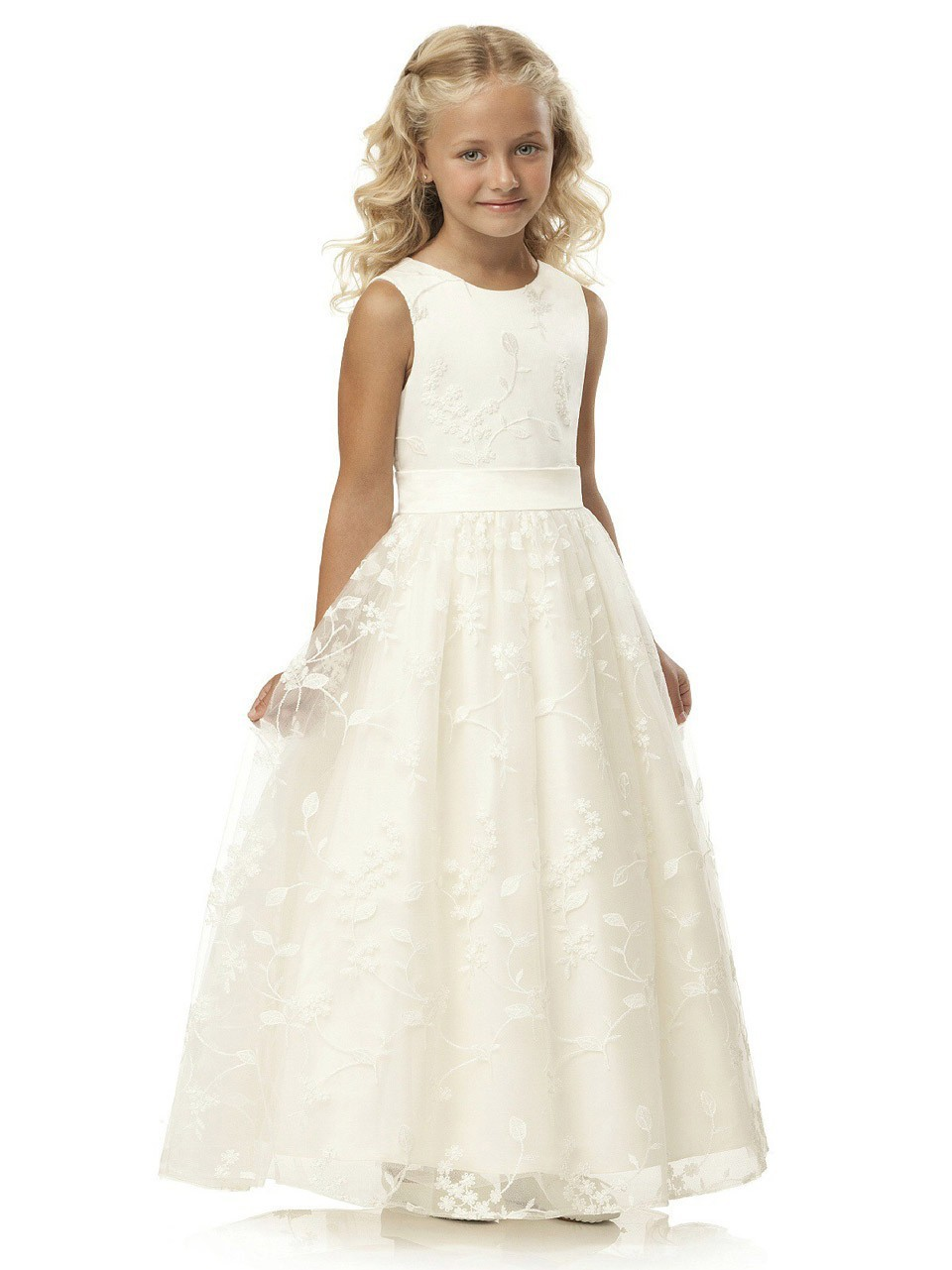 New Arrival Simple Vestidos Primera Comunion 2016 Ankle Length A-Line Lace Sleeveless O-Neck First Communion Dresses for Girls 2016 new arrival casual draped a line dress clothes with regular crew neck knee length sleeveless for baby girls kids