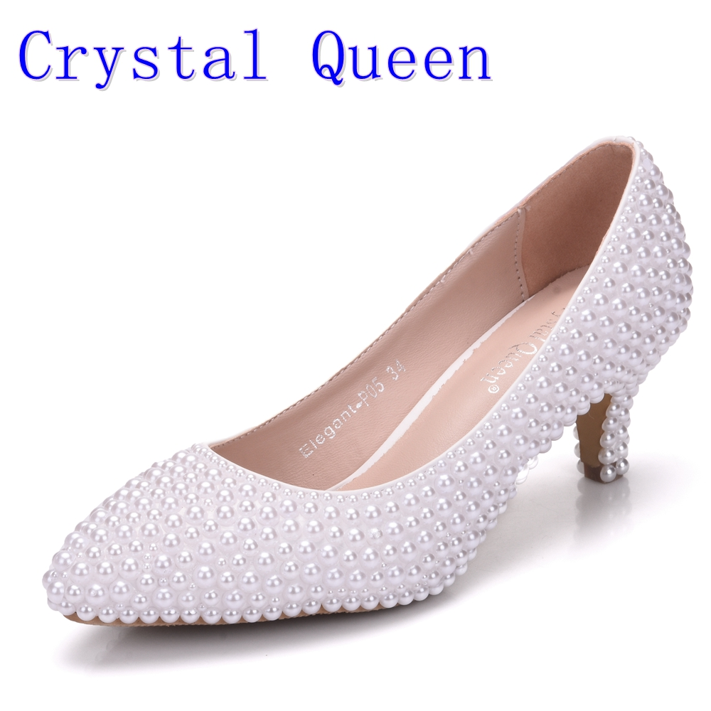 Crystal Queen White Pearl Wedding Shoes Bridal Women Shoes Elegant  Heels Evening Party Shoes High Heel 5CM Dress Pumps size 43 new arrival white wedding shoes pearl lace bridal bridesmaid shoes high heels shoes dance shoes women pumps free shipping party