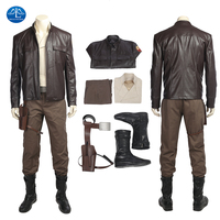 ManLuYunXiao Star Wars 8 The Last Jedi Poe Dameron Cosplay Costume Adult Men PU Leather Coat Pants Custom Made For Halloween