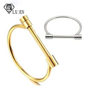 LXOEN New Fashion Titanium Stainless Steel Bangles Nail Shape Cuff Bracelets Bangle For Women Baguette Indian Jewelry Pulseiras(China)
