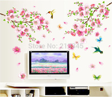 [Saturday Monopoly] pink peach flower birds butterfly romantic home living room decorative wall stickers mural decals DIY decor øyafestivalen 2018 saturday