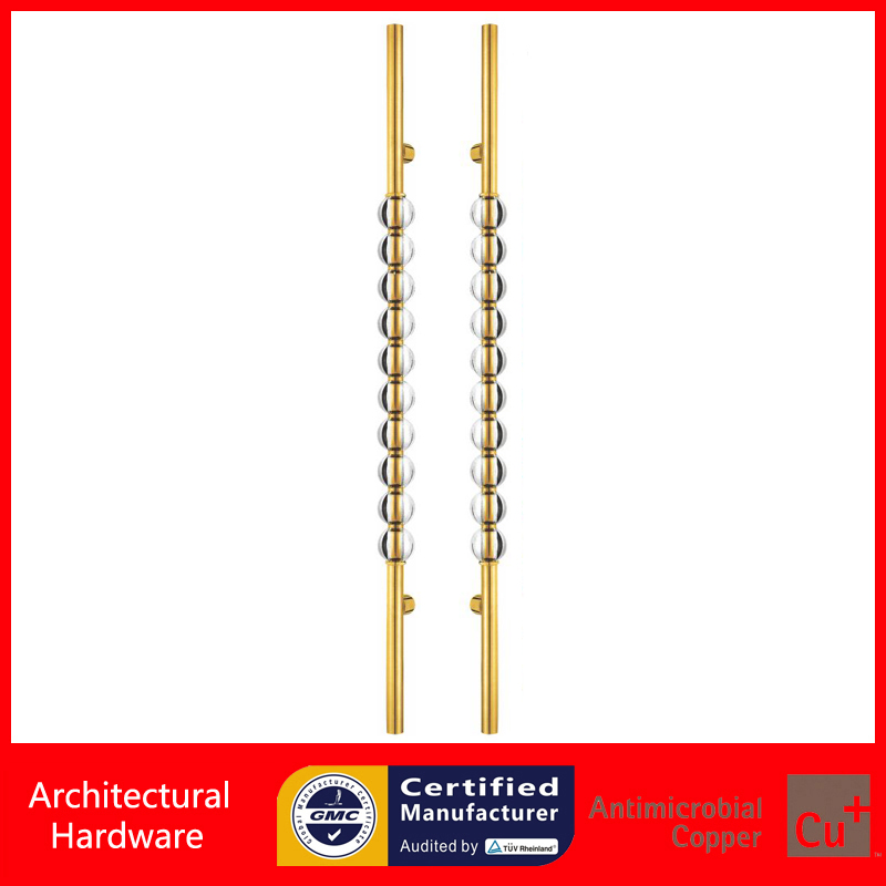 Luxurious Golden Entrance Door Handle Clear Crystal Pull Handles For Entry/Front Wooden/Metal Doors PA-499-80*1500mm 2000mm length square tube golden entrance door handle stainless steel pull handles for wooden metal glass doors pa 637