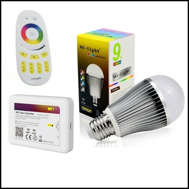 Mi lumière E27 9 W RGBWW ampoule d'intérieur mi. ampoule + RGBW RF tactile à distance + mi lumière 2.4G contrôleur WiFi pour iPhone/iPad IOS/Android