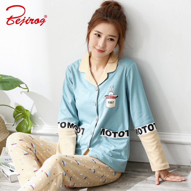 Bejirog button sleepwear for women cotton pajama V neck homewear animal  pyjama nighties autumn nightdress long 9a1c9ceca