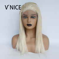V'NICE Natural Straight Platinum Blonde Princess Synthetic Lace Front Wig with Baby Hair 613 Bleach Blonde Wig for White Women