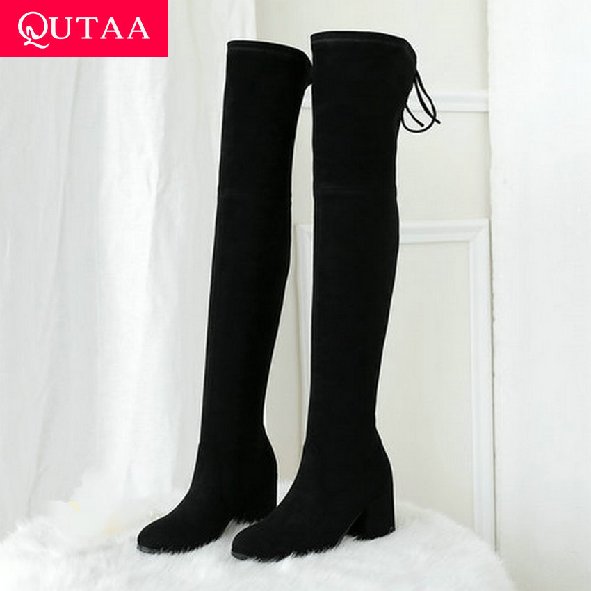 QUTAA 2020 Stretch Suede Women Over The Knee Boots Slip on Round Toe Square High Heel Lace Up Elegant Women Shoes Size 34-39QUTAA 2020 Stretch Suede Women Over The Knee Boots Slip on Round Toe Square High Heel Lace Up Elegant Women Shoes Size 34-39