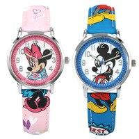 Disney students girl boy watches mickey mouse leather quartz clocks children boys girls casual waterproof luminous wristwatch