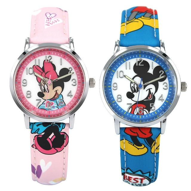 Disney students girl boy watches mickey mouse leather quartz clocks children boy