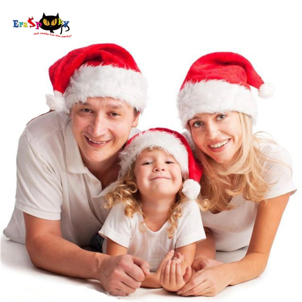 Eraspooky 2018 Christmas Hats Cosplay Adult Christmas Hat Kids Santa Claus Costume Cap Velvet New Year Family Accessories