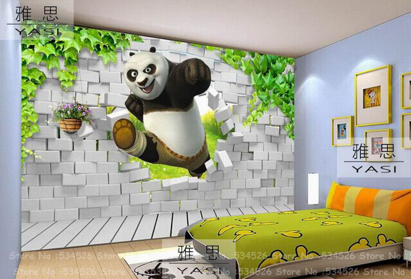 Panda 3d wallpaper for kids room fresco papel de parede tapete infantil wallpaper border background homedecoration wallcovering in wallpapers from home