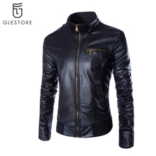 New Arrival Men s Clothing Casual Slim Motorcycle Leather Jackets Male Pu Leather Turtleneck Jacket Men
