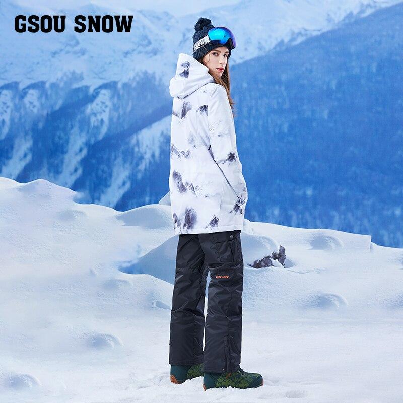 Gsou snow, single board, double board, waterproof, windproof, warm winter, long ski suit, women's suit, adult tide brand - 4
