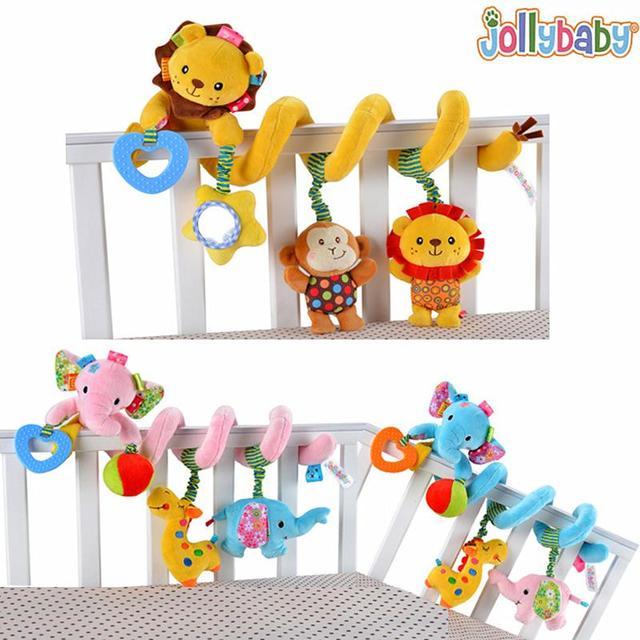 Jollybaby chocalhos toys cama multifuncional pendurado brinquedo de pelúcia macia leão elefante mordedor chocalhos recém-nascidos bebês toys # ea