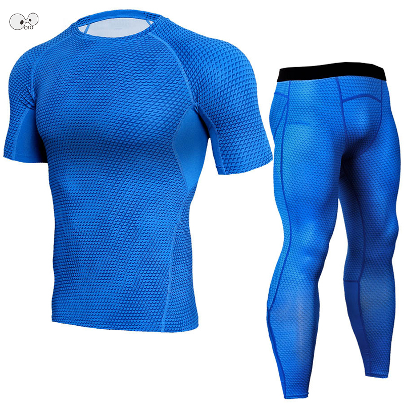 MMA 2018 3D Printed Mens Fitness Sets Short Sleeve Compression Shirt+Tights Leggings Base Layer Running T Shirt Gym Pants Set