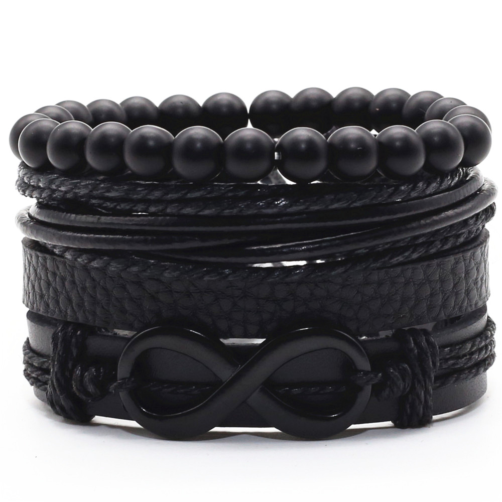 Infinity Black Beads Charm Link Alloy Handmade Woven Men Leather Bracelets Women Vintage Bangle Male Jewelry Accessories