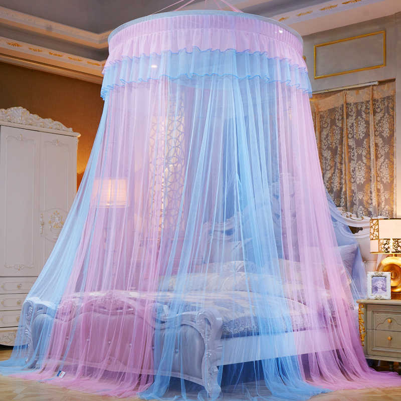 1/1.2/1.5/1.8/2m Mosquito Net Home Textile Dome Hanging Round Bed Canopy Tent Colorful Bedroom Decor Mosquito Netting Curtain