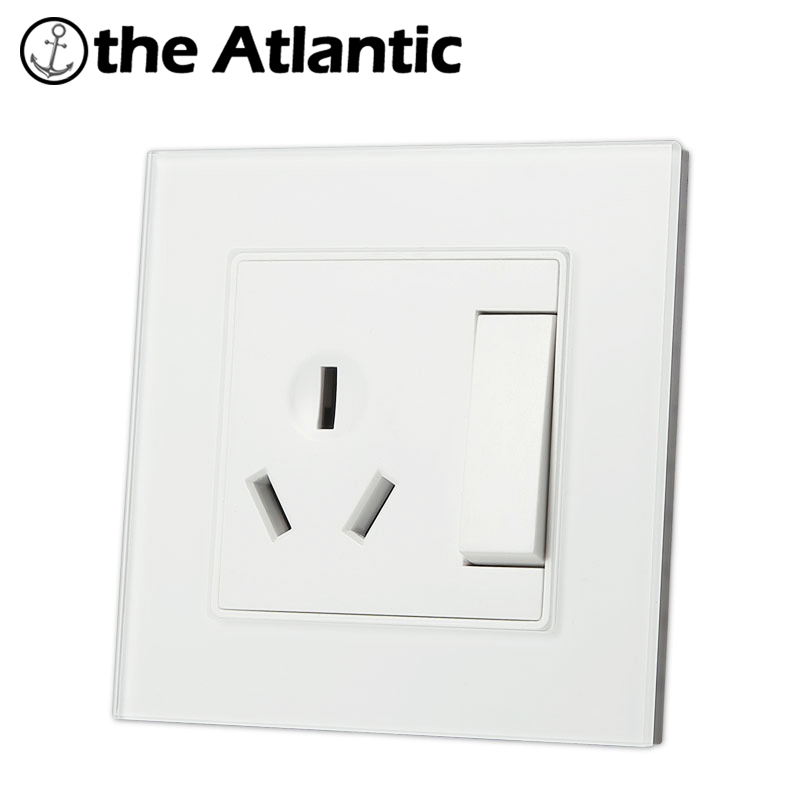 Atlantic 4 Color 16A  Universal Switched Socket  Crystal Tempered Glass 1 Gang Push Button Switch And 16A  3 Pins Hole Socket палатка сплав atlantic 4 цвет зеленый