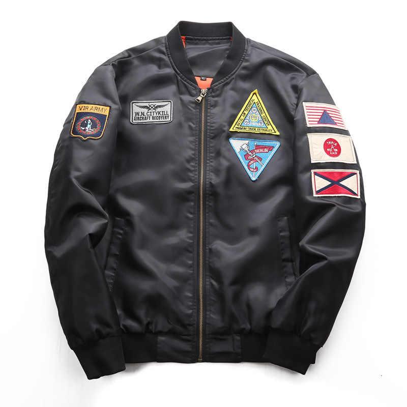 Aolamegs Bomber Jacket Men Odznaka Powietrza Pilot Z