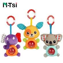 N-Tsi Lovely Soft Bunny Bear Hanging Bell Baby Hand Rattle Plush Stuffed Activity Crib Stroller Toys for Children Kids Gift
