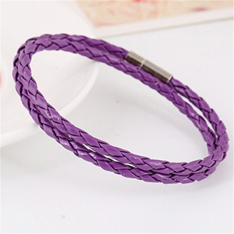Black Brown Red Navy Blue Green Purple Braid Leather Bracelet