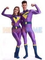 The Wonder Twins Jayna The Wonder Twins Zan Superhero Costume Lycra Spandex Zentai Bodysuit for woman/Men