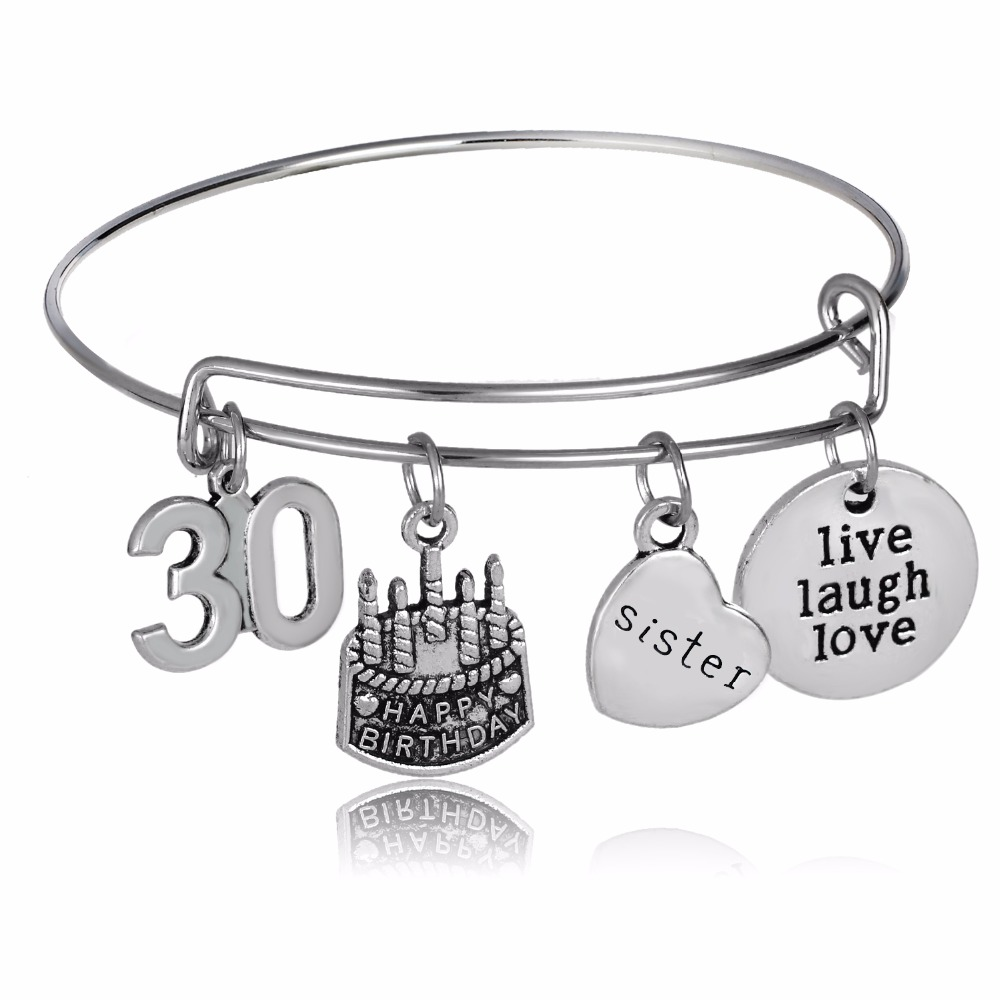 Lucky Birthday Number 30 Cake Bangles Sister Sis Heart Women Friends Family Bracelet Live Laugh Love Wristband Gifts Jewelry Hot