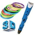 Alta calidad pen1.75mm impresora 3d abs/pla filamento de smart 3d dibujo a pluma pluma + envío + adaptador regalo creativo para niños de diseño de pintura