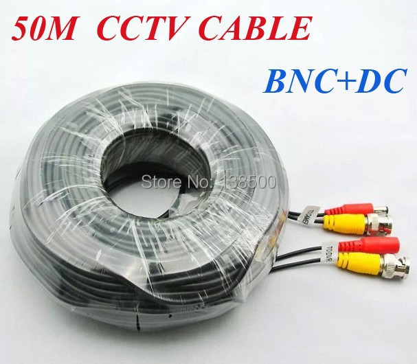 ФОТО Wholesale Free Shipping Black 165ft 50m 2.1mm x 5.5mm Power & Video BNC Cable for CCTV Security Camera