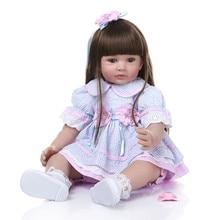 24inch 60cm Bonecas Infantil Meninas Long Hair Toddler Doll Soft Silicone Reborn Baby Doll Lifelike Bebe Reborn Doll Brinquedos цена