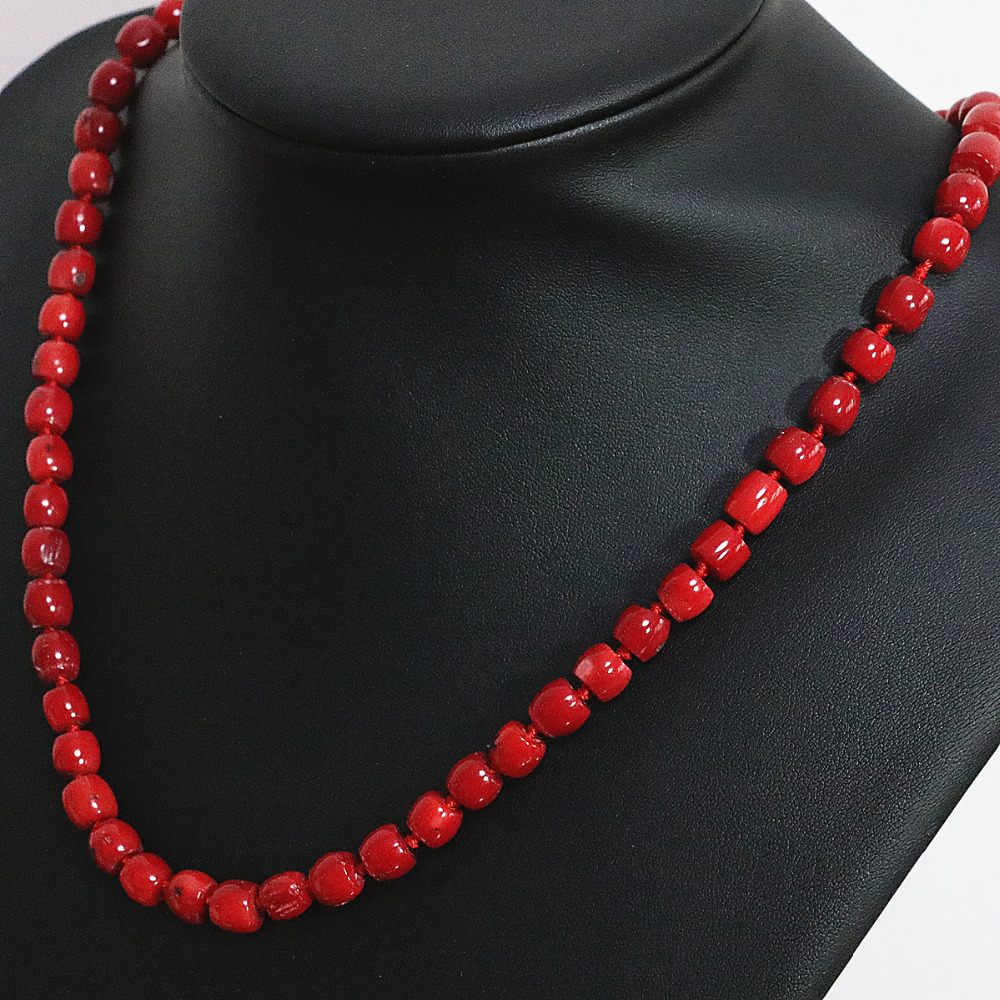 Charm red natural coral irregular tube barrel beads 8*11,11*15mm fashion women chain high grade necklace 20inch B1503