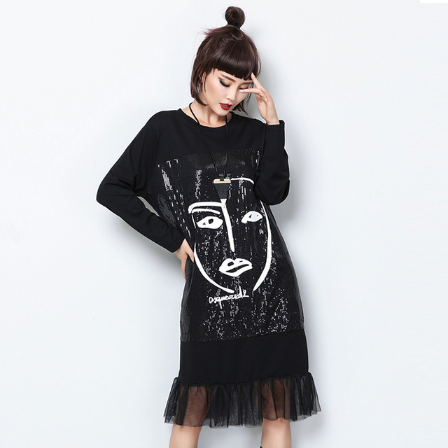 Women Sequins Dress Patchwork Mesh Sheer Printed Character Abstract Pattern  Black Crew Neck Loose Baggy Casual Shiny Fashion New 6bbbd54423ed