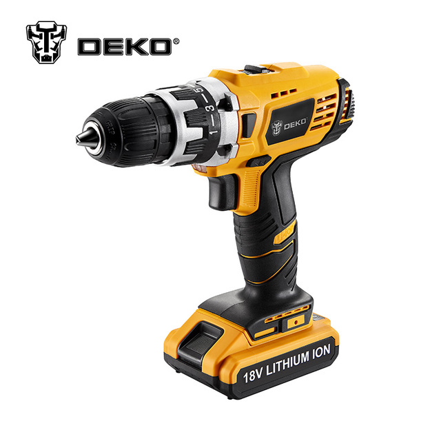 DEKO GCD18DU2 18V 38N.m DC New Design Mobile Power Lithium-Ion Battery Cordless Drill/Driver Power Drill Tools Electric Drill