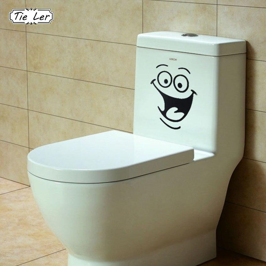 Smile Face Toilet Stickers DIY Personalized Furniture Decoration Wall Decals Fridge Washing Machine Bathroom Sticker