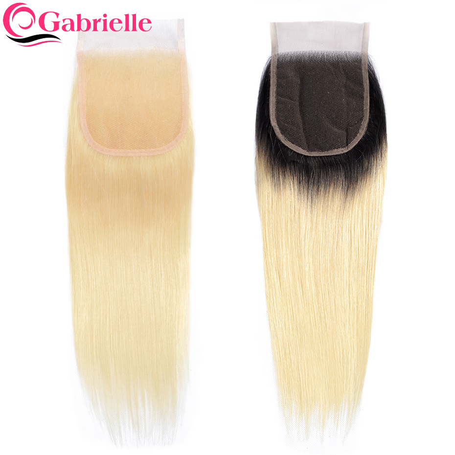 Gabrielle Lace Closure Hair Hair-Extensions Blonde Straight Brazilian Color 8-22-Inch