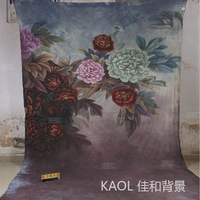 10ft x20ft Hand Painted muslin backdrop K3512, flower photo backdrop,wedding background, photography scenic backdrops