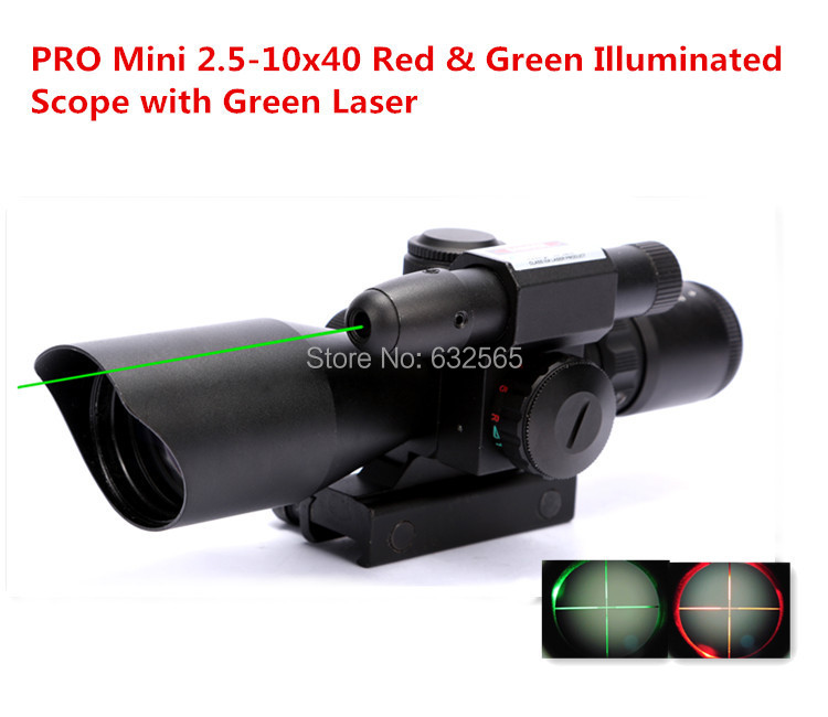 Tactical Pro Mini 2.5-10x40 Hunting Green Laser Sight Red & Green Dot Illuminated Scope With 11mm / 20mm Rail + Free Shipping