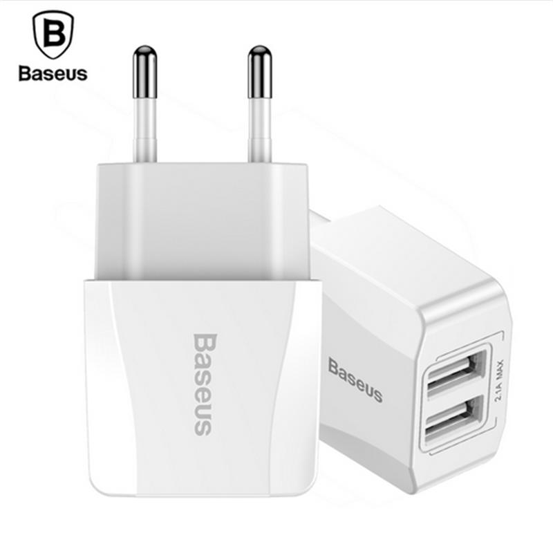 Baseus Mini Dual USB Charger For iPhone iPad Adapter EU Plug Travel Wall Charger Phone Plug For Samsung Xiaomi Phone Charger