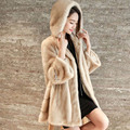 2016 Winter Faux Mink Fur Coat for Women Fashion Slim Hooded Long Coats Plus Size 3XL Black Khaki White SSM13