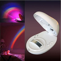 Colorful Romantic LED Rainbow Projector Night Light Baby Sleeping Bedside Night Lamp Children Kids Toys Batteries