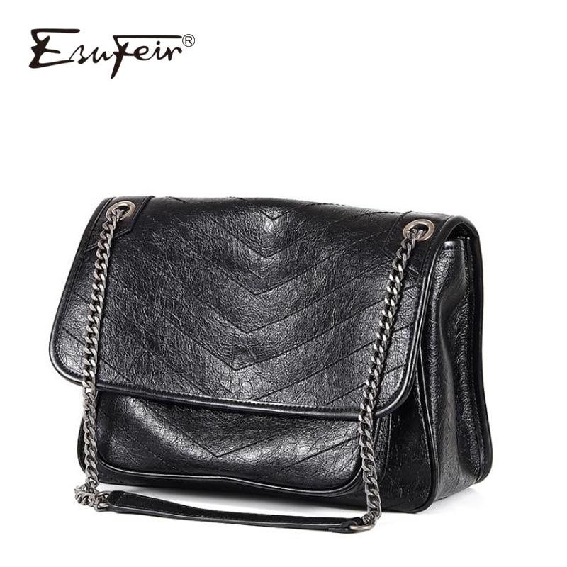 2019 Genuine Leather Women Chain Messenger Bag Cow Leather Fashion Handbag Vintage Shoulder Bag Famous Brand