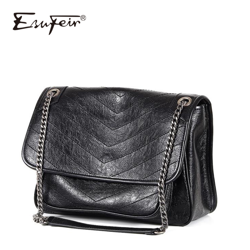 2019 Genuine Leather Women Chain Messenger Bag Cow Leather Fashion Handbag Vintage Shoulder Bag Famous Brand Satchels Tote Purse