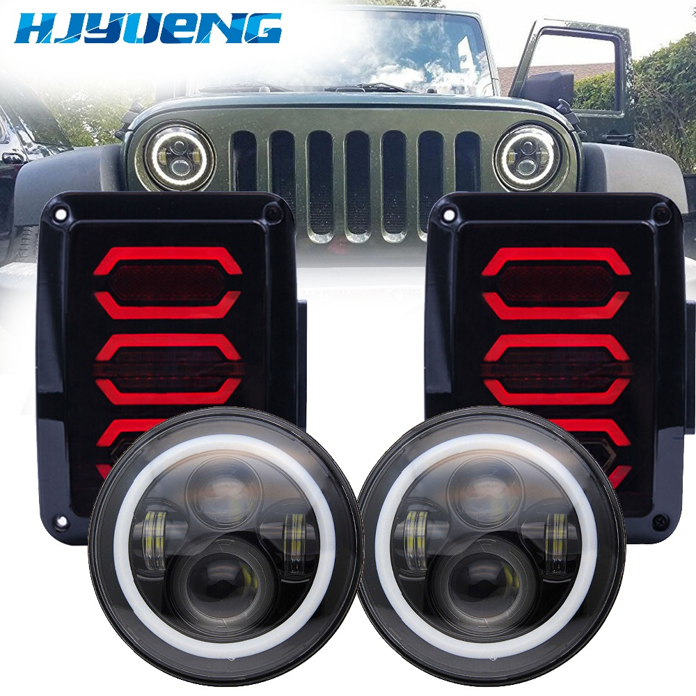 7inch 40W LED Headlight DRL and USA/EU edition reverser brake turn signal LED rear tail light 07-16 For Jeep wrangler LED light