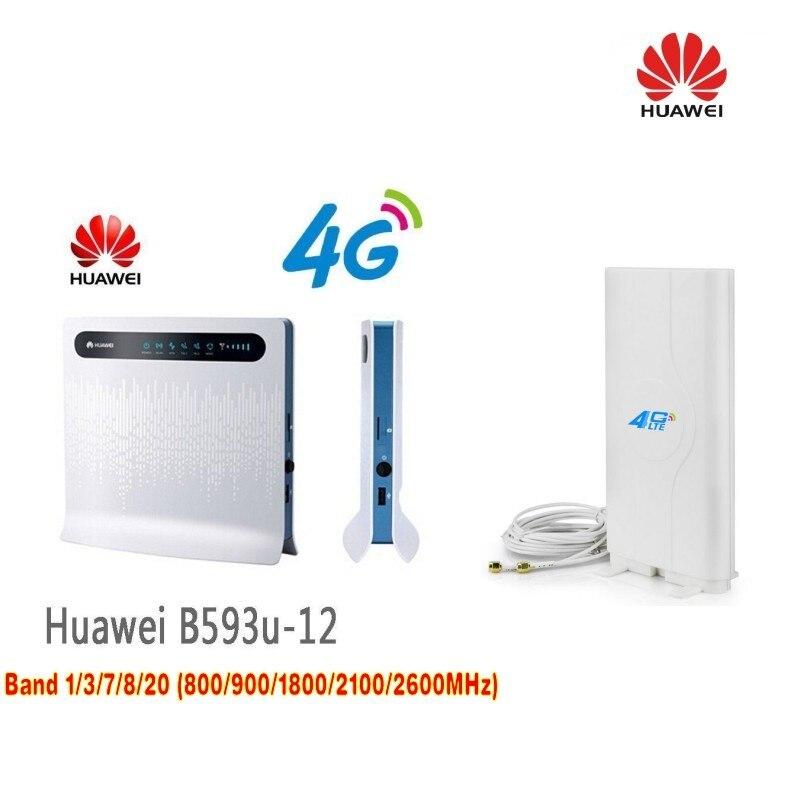 Tout nouveau débloqué Huawei B593 B593U-12 4G LTE FDD wifi routeur sans fil et double antenne 49dBi 3G & 4G