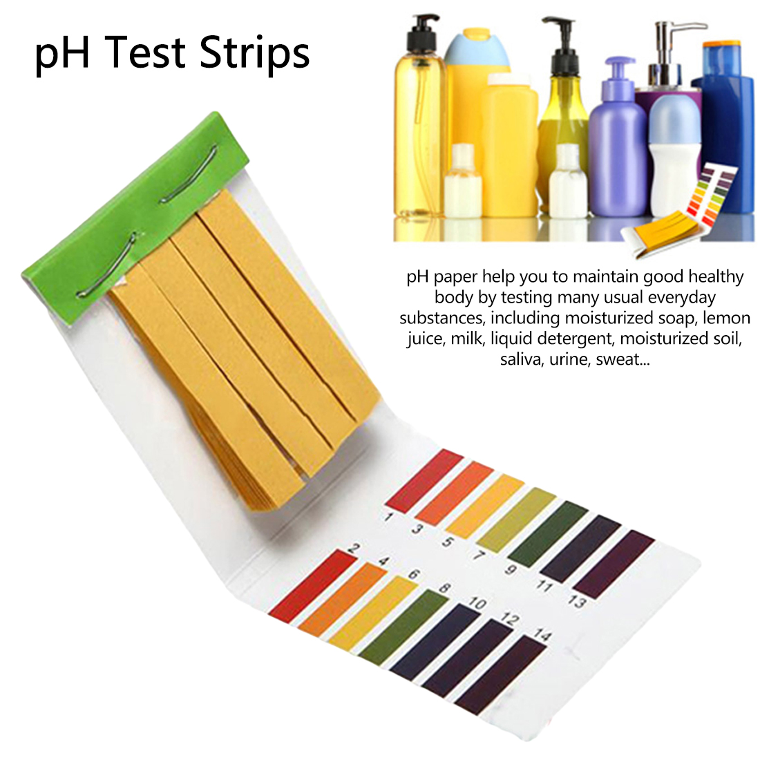 A escala completa 1-14 80 do papel do teste do ph do agregado familiar tira o verificador do ph das tiras para o teste do ph do solo do jardim