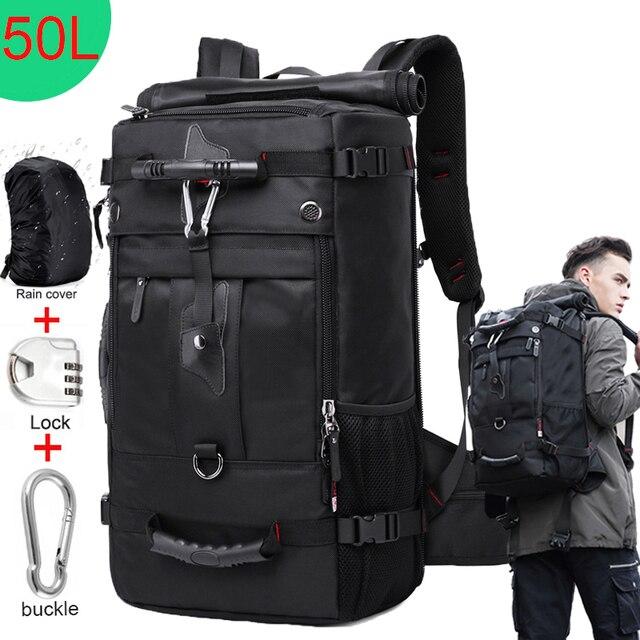 Kka 50L mochila de viaje impermeable para hombres y mujeres multifunción 17,3 mochilas para ordenador portátil bolsa de equipaje al aire libre para hombre
