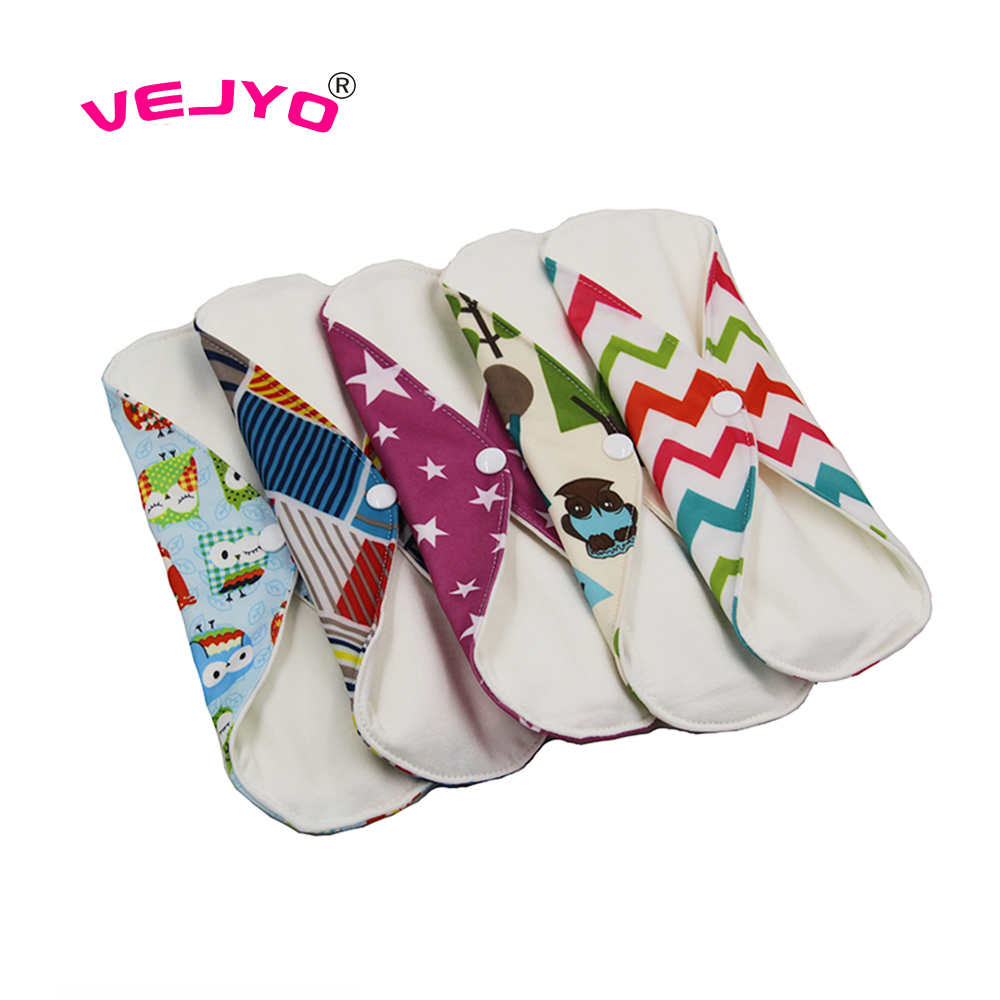 VEJYO 20PCS 12 Feminine Hygiene Products Best Sale Women Reusable Bamboo Cotton Sanitary Menstrual Cloth Pads