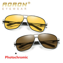 AORON 2019 Photochromic Sunglasses Men Driving Polarized Sun Glasses Chameleon Driver Safety Night Vision Goggles Glasses цена